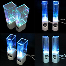 Hot Portable Dancing Water Music Speaker LED Light Fountain Speaker USB Sound box Subwoofer for PC computer Laptop Desk Stereo(China)