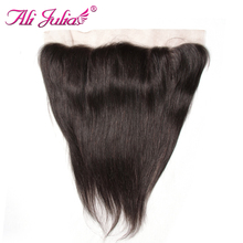 Ali Julia Hair 13''*4'' Brazilian Straight Frontal 10''-20'' Human Hair Ear to Ear Lace Frontal Free Part Non Remy 120% Density(China)