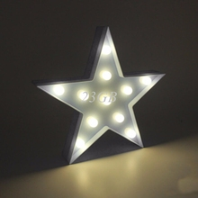 2017 NEW 3D Marquee Lamp With 11LED Battery Operated Night Light Warm-White White Stars APR28_20(China)