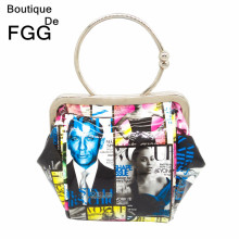 Women Fashion Trapeze 007 Magazine Characters Print Wristlets Evening Party Clutch Bag Ladies Metal Frame Handbag Shoulder Bags
