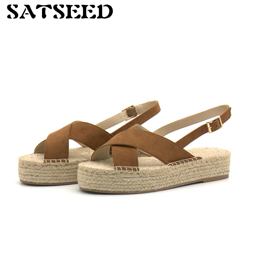 2017 Summer Sandal Women New Flat Hemp Woven Roman Sandals Casual Ladies Sandals Kniting Retro Low Heels Buckle Strap Pure Color<br>