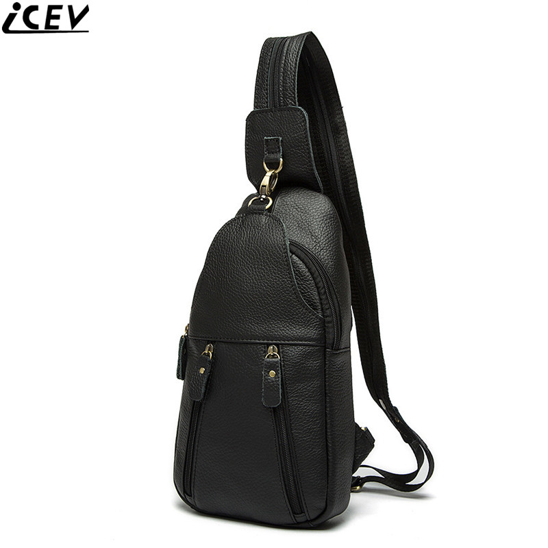 ICEV new vintage shoulder bag genuine leather mens chest bags high quality 100% cow leather male messenger handbag famous brand<br>