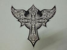Huge Flying Cross Angel Wings Large Embroidery Patches Motorcycle Biker for Jacket Back MC 33cm * 32.5 cm(China)