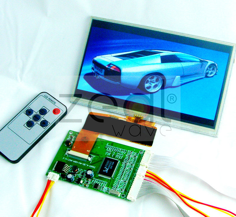 Free Shipping 7 inch 800*480 40pin TFT Car LCD Display Module,w/VGA,Video AV Board with Touch Panel<br>