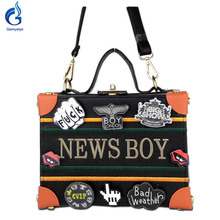 Gamystye Wood Women Evening Totes Bag Black NEW BOY Clutches Shoulder Handbags Crossbody Bags Hardcase Ladies Box Clutch Bag(China)