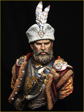 Unpainted Kit 1/10 Medieval General of Poland Hussar bust figure Historical WWII Figure Resin Kit Free Shipping(China)