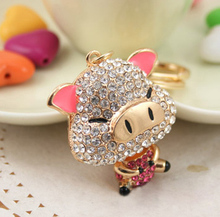 Full crystal elements Cute En richment Pig Keychain/ Purse Charm, Environmental alloy by rose Gold Color , K003(China)