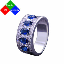 BSL Fine Jewelry Real 925 Sterling Silver Vintage Created Gemstone Blue Sapphire Rings For Women Wedding / Engagement Size 6-10(China)