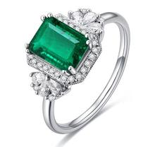 Luxury emerald ring white gold plated cz diamond ring with colored stones finger ring