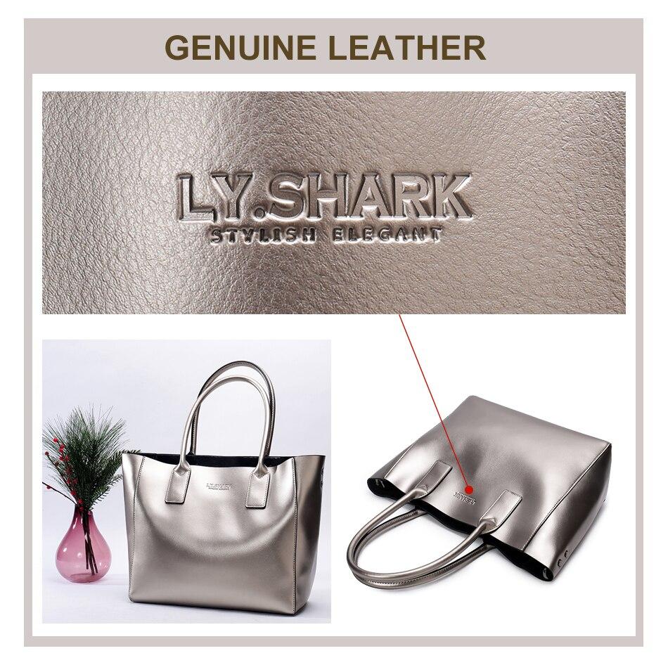 LY.SHARK female bag ladies genuine leather women bag shoulder messenger bag women handbag big famous brand designer fashion tote 5