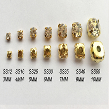 288pcst 3mm-10mm Shiny clear Crystal Rhinestone Sew on claw gold base set Rhinestones use for DIY accessories free shipping(China)