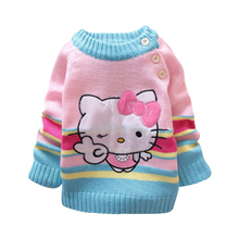 wholesale 2017 Children hello kitty Sweater Children Outerwear Baby Kids Cardigan for girls Coats and Jackets for children 3pcs