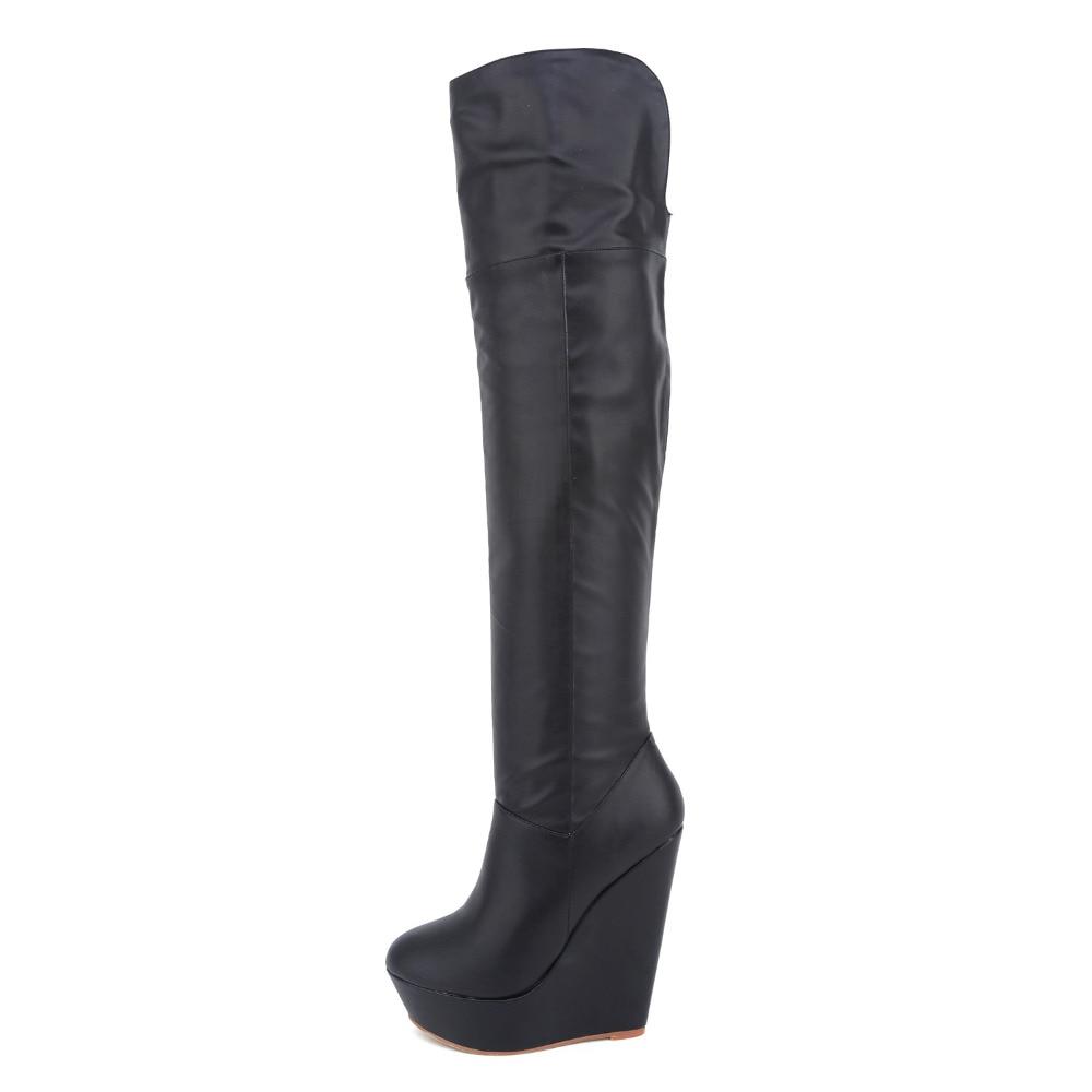 Newest Spring/Autumn Matt Boots Women Fashion Boots Platform Wedges Knee-High High Heel Shoes Women Round Toe Solid Boots<br>