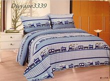 FADFAY 100% Cotton 3 Piece Train Theme Boys Queen Size Quilt Bed Set With Bedspread Pillowcase Soft Quilt Cover Bedding Set