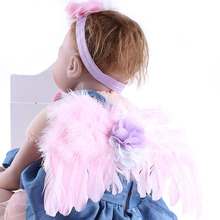 1Peice Girl Lace Flower Headband & Angel Feather Wings Photo Prop Hairband Hair Head Bands Photo Shoot Accessories