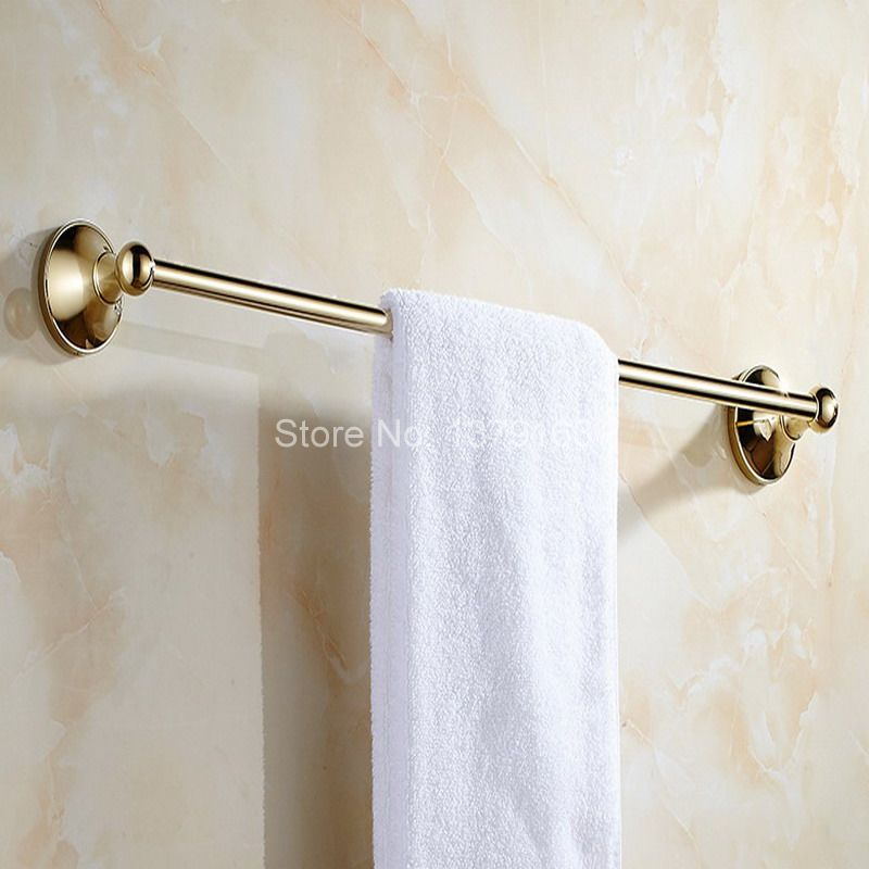 Wall Mount Luxury Gold Color Brass Bathroom Bath Hardware Towel Single Bar Rail Rack Holder Bathroom Fitting Accessory aba875<br>