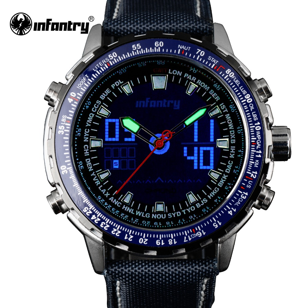 INFANTRY Sport Watch Blue Fashion Casual Quartz Wristwatches LCD Analog Digital Chronograph Waterproof 3ATM Relogio Masculino<br>