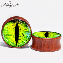 ABAICER 2pcs/Lot Green Eye Red Sandal Wood Ear Gauge Plugs And Flesh Tunnels Piercing Expander Stretcher 8MM-24MM 061219(China)