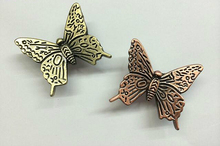 Antique Bronze Kitchen Cabinet Knobs Pulls Handles Decorative Furniture Knob Pull Cute cartoon butterfly knobs for children room(China)