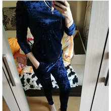 LUO SHA 3XL 6 Color Velvet Tracksuit Women Costume Velvet Set Long Sleeve Top+Pant Velour Tracksuit Sets for Women Sporting Suit(China)