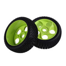Newest  2pcs/set RC 1/8 Off-Road Car Buggy Rubber Tyres Tires Wheel Rims Green 86G-804 Car Tires High Quality
