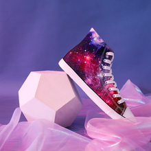 Unisex 3D 손-Painted Canvas Women Shoes Limited 판 총총 편안한 패션 Galaxy (High) 저 (질 Sneakers(China)