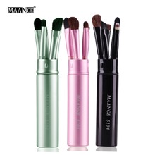 MAANGE 5pcs Pro Eye Shadow Brushes Set Eyes Lips Eyebrow Eyeliner Makeup Brushes Cosmetic Beauty Make Up Tool Case Kit With Logo