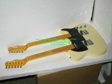 Custom Shop Cream Double Neck Electric Guitar Maple fingerboard free shipping(China)
