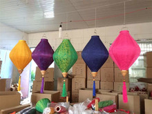 25pcs/lot 14 inch/32cm Outdoor/indoor Diamond Jacquard Silk Lanterns Chinese New Year Holiday Mall Decorations Party Decor(China)