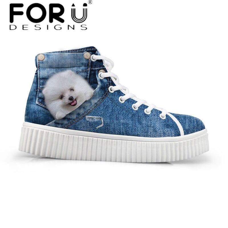 FORUDESIGNS Kawaii 3D Animal Pomeranian Pattern Women High Top Casual Shoes Flats Female Autumn Cowboy Fashion Platform Shoes <br>