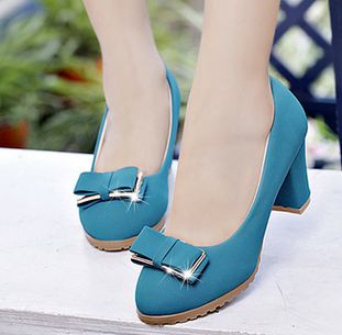 7cm block heel flock bow pumps shoes for woman female spring thick med heeled black beige black pumps shoes quick shipping DS157<br><br>Aliexpress