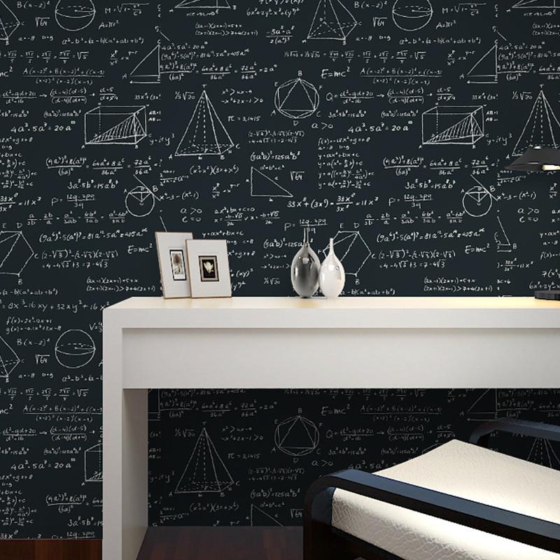 Beibehang Wallpaper blackboard geometric mathematical formula style wallpaper living room room cafe black white wallpaper roll<br>