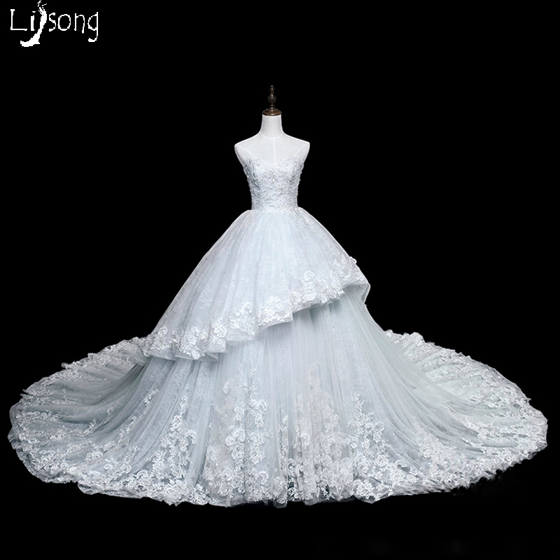 Light Sky Blue Appliques Lace Tiered Wedding Ball Gowns Custom Made Princess Long Hemline Bridal Formal Maxi Gowns Vestido Noiva
