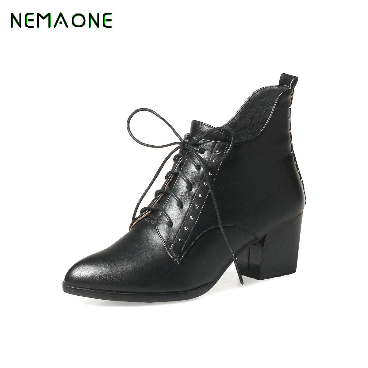 NEMAONE  2017 Large Size 33-43 Pointed Toe Belt Knot Sexy Zip Up Woman Shoes square High Heels Ankle Boot<br>