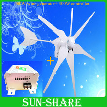 Free shipping ! MAX power 400w with 6blades ,high efficiency wind turbines +wind solar charger with Auto brake function