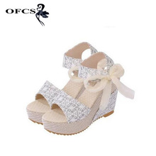 High Quality Women Sandals Summer wedges sandals female shoes women platform shoes lace belt bow open toe high-heeled size 35-40(China)