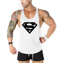 Supermen Stringer tank tops men Bodybuilding 3D VEST Y Back Tank Top Sportwear Singlets for Men Fitness sleeveless gyms clothing(China)
