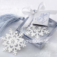 30pcs/lot+Small Orders Snowflake Bookmark Winter Wedding Favors Bookmarks Baby Gift Bookmark Favor+FREE SHIPPING(China)