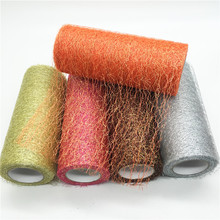 15cm*10Y Gold Sliver Wire Tissue Tulle Roll Spool Craft Wedding Party DIY Decoration Organza Sheer Gauze Element Table Runner(China)
