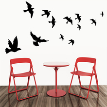 hot selling black flying birds wall decals for living room bedroom home decoration vinyl removable animals stickers art