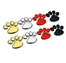 50 PAIRS/LOT Bear Dog Footprint Dog paw PVC 3D Car Sticker Badge Emblem Decal black red gold silver wholesale(China)