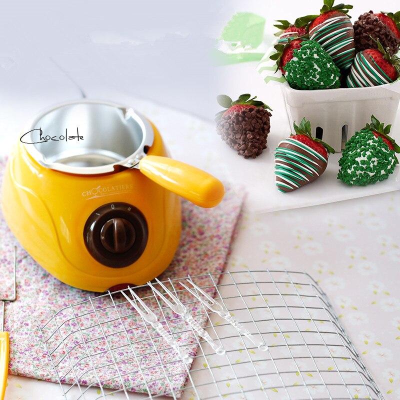 220V Yellow Mini Single Cylinder Chocolate &amp;Soap Melting Furnace For Household Chocolate Pot DIY Dessert EU/AU/UK Plug<br>