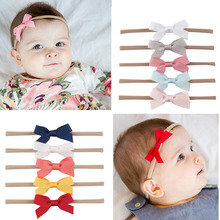 1 Set (5 pcs) Girls Fashion Solid Ribbon Bow Elastic Hair Bands Nylon Headband Handmade Headbands Kids Headwear Hair Accessories