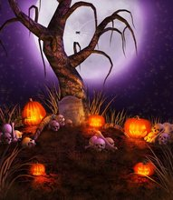 10x10FT Outdoor Purple Sky Moon Graveyard Trunk Skull Pumpkin Halloween Custom Backdrop Photo Studio Background Vinyl 8x8 10x12