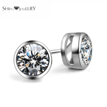 SHIPEI Brand Classic New Fashion Woman/Man Round Stud Earrings with White Gold Plating and 0.75 Carat AAAA Shine Crystal(China)