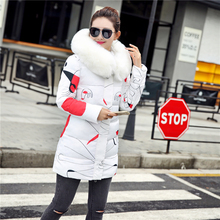3 Color Winter Women Medium-long Jacket Fashion Warm Thickening Large Fur Collar Hooded Women Winter Coat Plus Size Overcoat(China)