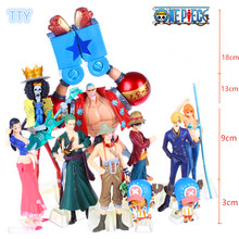 10pcs/set One piece Luffy team Action figure toys luffy Sanji Nami Chopper Sauron Model figures for kids best Collection gifts