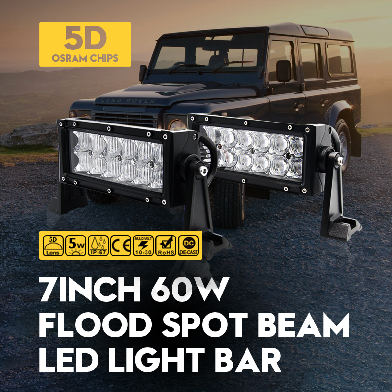 5D 7 60W ForOsram LED Work Light Bar Spot Flood Daytime Running Lights Auto Motor SUV ATV Boat Offroad Driving Lamp Universal<br><br>Aliexpress