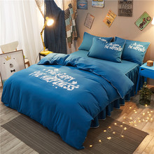 Modern Style Blue + White Letters Pattern 4Pcs Twin/Full/Queen Size Comforter Set Bedding Set High Quality Paris Duvet Cover Set(China)