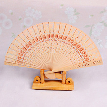 1Pcs Hollowed out fragrant wood fan High-quality process Sunflower Priint Fragrant folding fan Home Decoration Craft 75Z(China)